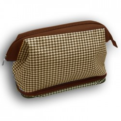 Gladstone Style Brown Dog Tooth Washbag - British Bag Company