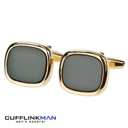 Black Onyx - Gold Plated Soft Edge Square Edition Cufflinks
