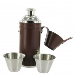 8oz Brown Spanish Leather Hunting Flask with 2 Cups