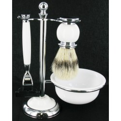 White Shaving Set with Bristle Brush and Bowl