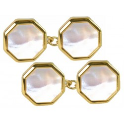 Mother of Pearl Octagonal Gold Plate Chain Cufflinks