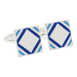 Fredbennett 925 Silver and Blue Enamel Designer Cufflinks