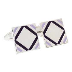 Fredbennett 925 Silver and Purple Enamel Designer Cufflinks