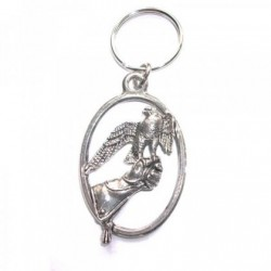 Falcon on Glove Pewter Key Ring