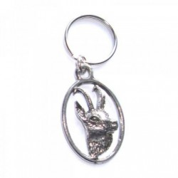 Chamois/Gams Stag Pewter Key Ring
