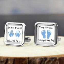 Personalised - Blue Hands & Feet Cufflinks