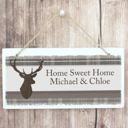 Personalised Tartan Highland Stag Wooden Sign