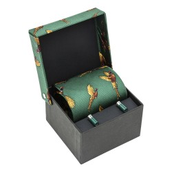 Green Pheasant Silk Country Tie and Cufflinks Set