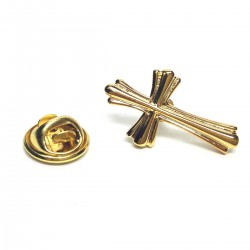 Ornate Golden Cross Lapel Pin