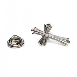 Ornate Silver Cross Lapel Pin