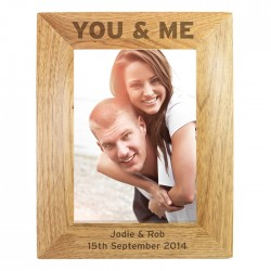 Personalised You & Me 6x4 Wooden Photo Frame