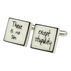 """There Is No Sin"" Bone China Cufflinks"