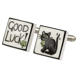 """Good Luck!"" Bone China Cufflinks"