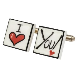 """I Love You"" Bone China Cufflinks"