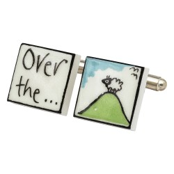 """Over The Hill"" Bone China Cufflinks"