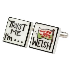 Trust Me I'm Welsh Bone China Cufflinks