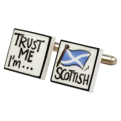 Trust Me I'm Scottish Bone China Cufflinks
