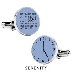 Personalised Special Date and Time Cufflinks - Serenity Blue