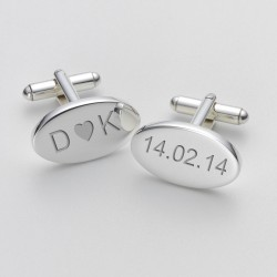 Personalised Initials and Dates Oval Cufflinks