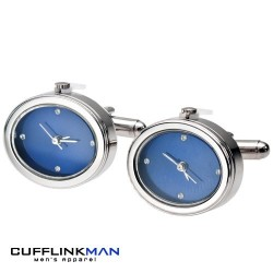 Navy and Crystal Clock Cufflinks (Working)
