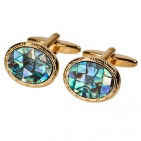 James Kinross - Paua Shell in Gold plate cufflinks