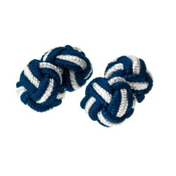 Navy and White - Knot Cufflinks