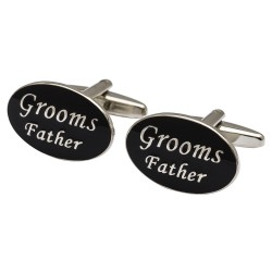 Oval Black - Grooms Father Cufflinks