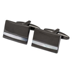 Gunmetal with Mother of Pearl Stripe Cufflinks