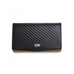 Dalvey - Designer LEATHER BUSINESS CARD CASE Carbon Fibre Black with Orange