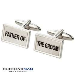 Brushed rhodium - Father of the Groom Cufflinks