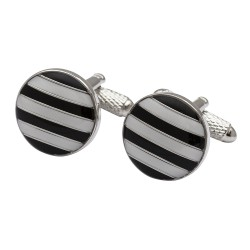 The Diagonal - Striped Cufflinks - Blue & White Edition