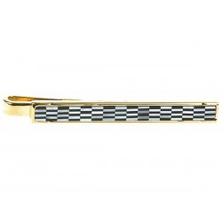 Chequerboard Mother of Pearl  and Onyx Gold Tie Clip - Tie Bar - Tie Slide