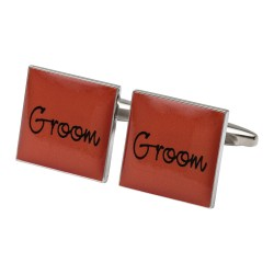 Square Orange- Groom Cufflinks