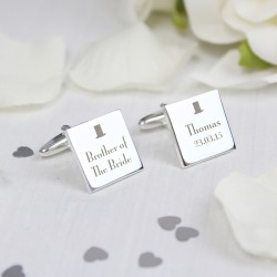 Personalised Top Hat Brother of the Bride Cufflinks
