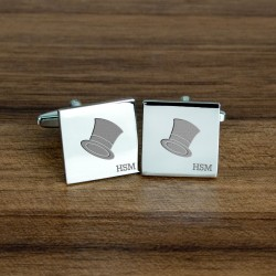 Personalised Top Hat Cufflinks - Initials Cufflinks - The Perfect Gift