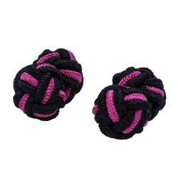 Black and Cerise Silk Knot Cufflinks