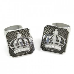 Crown on Black Cufflinks